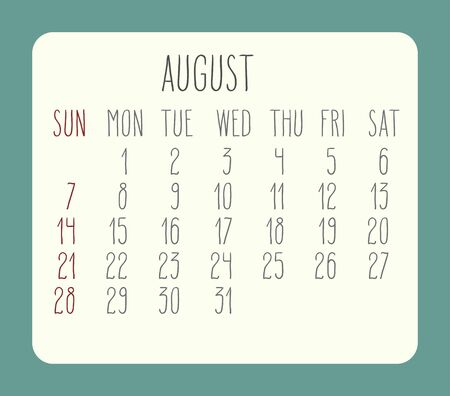 rounded rectangle: August 2016 vector monthly calendar. Week starting from Sunday. Beige rounded rectangle over green background. Illustration