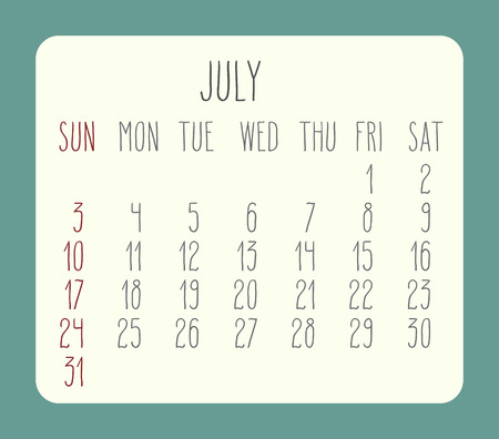 rounded rectangle: July 2016 vector monthly calendar. Week starting from Sunday. Beige rounded rectangle over green background.