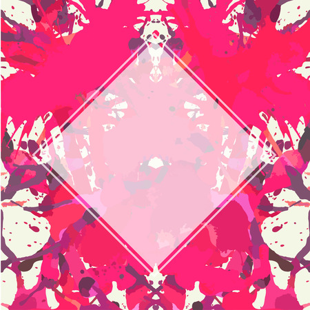 semitransparent: Template with semi-transparent white square over bright pink colorful artistic paint splashes, ready for your text.