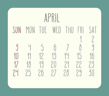 rounded rectangle: April 2016 vector monthly calendar. Week starting from Sunday. Beige rounded rectangle over green background. Illustration