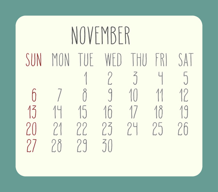 rounded rectangle: November 2016 vector monthly calendar. Week starting from Sunday. Beige rounded rectangle over green background.