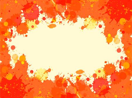 horizontal format: Vibrant bright orange watercolor paint artistic splashes frame, horizontal format.