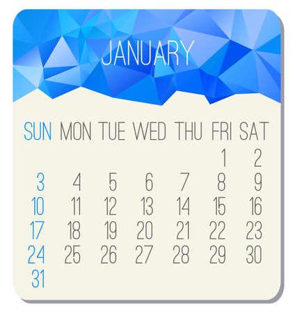 january: De enero de el a�o 2016 vector calendario mensual. Semana a partir del domingo. dise�o de poli baja contempor�nea en color azul.