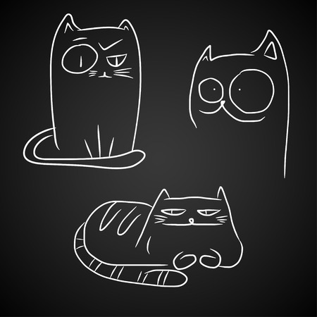 crazy cartoon: Hand drawn sketches of funny cats, white isolated over black.