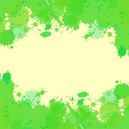 text room: Vibrant bright green watercolor paint artistic splashes frame with room for text, square format. Illustration