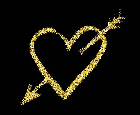 glitter heart: Gold glitter heart and an arrow isolated over black background. Happy Valentines Day golden glamour design element.