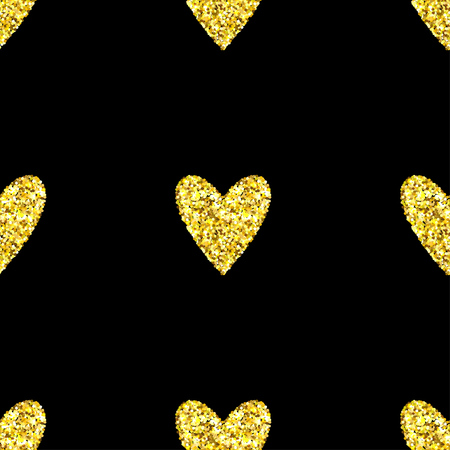 glitter heart: Gold glitter heart seamless pattern over black background. Happy Valentines Day golden glamour sparkle background.