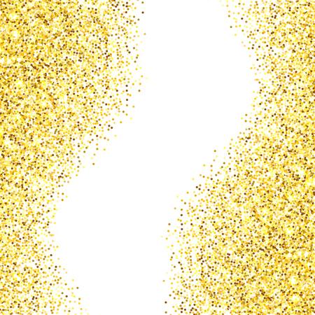 Or paillettes texture frontière sur fond blanc. Résumé des étincelles d'or de confettis. Vector illustration avec la pièce pour votre texte.
