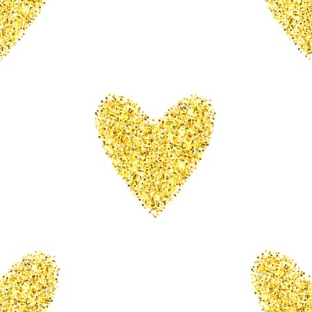 glitter heart: Gold glitter heart seamless pattern over white background. Happy Valentines Day golden glamour sparkle background.