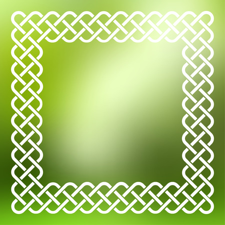 celtic frame: Traditional style braided knot celtic frame over square abstract smooth blur green background. Illustration
