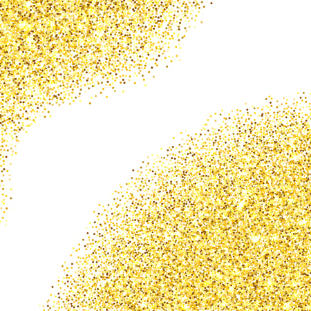 room for your text: Gold glitter texture corners over white background. Abstract golden sparkles of confetti. Vector illustration with room for your text. Illustration