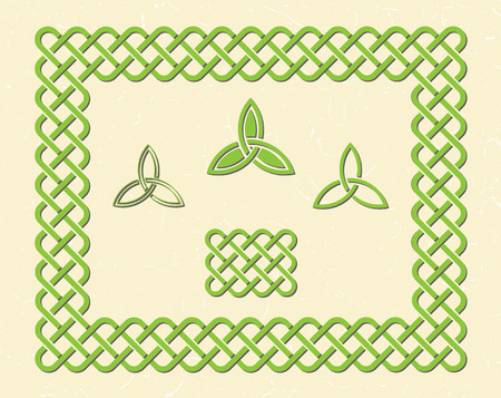 Traditional green celtic style braided knot frame and elements.