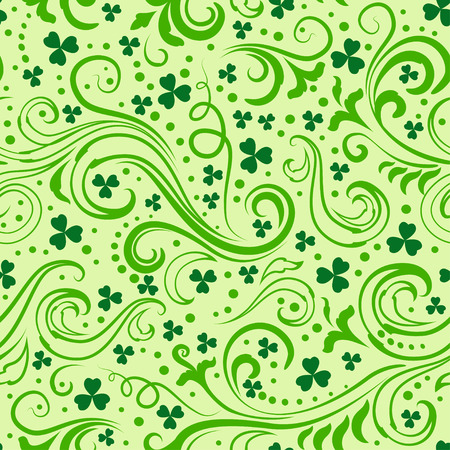 floral swirls: Seamless light green St. Patricks day background with floral swirls and clover leaves.
