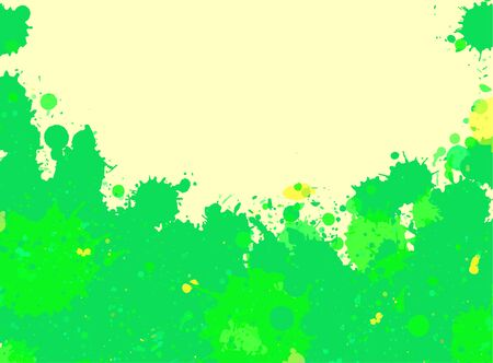 room for text: Vibrant bright green watercolor artistic splashes frame with room for text, horizontal format.