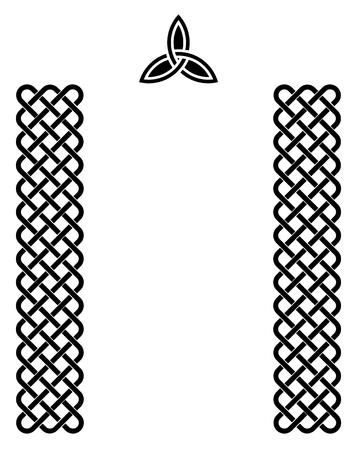 Traditional celtic style braided knot borders and a triquetra, black isolated over white.