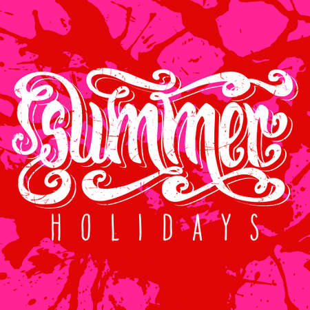 hot pink: Hand drawn textured words Summer holidays over hot pink artistic paint splashes. Illustration