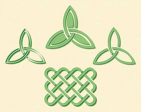 Traditional green celtic style braided knots over textured vintage background.