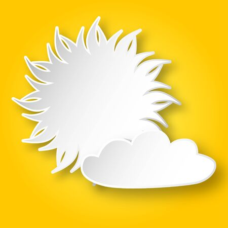 yellow sky: White paper shining sun and a cloud on the yellow sky. Illustration