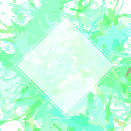pastel colored: Template with semi-transparent white square over green pastel colored artistic paint splashes, ready for your text.