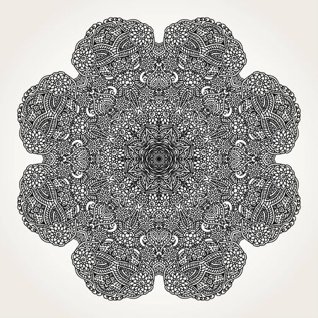dibujos para colorear: Ornate lacy doodle floral round rosette in black over white backgrounds. Hand drawn mandala. Coloring pages for adults.