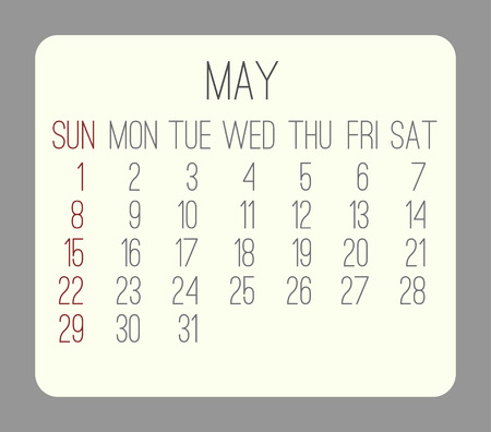rounded rectangle: May 2016 vector monthly calendar. Week starting from Sunday. Beige rounded rectangle over gray background.