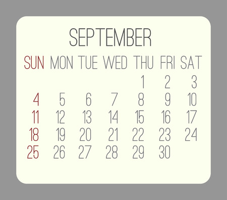 rounded rectangle: September 2016 vector monthly calendar. Week starting from Sunday. Beige rounded rectangle over gray background. Illustration