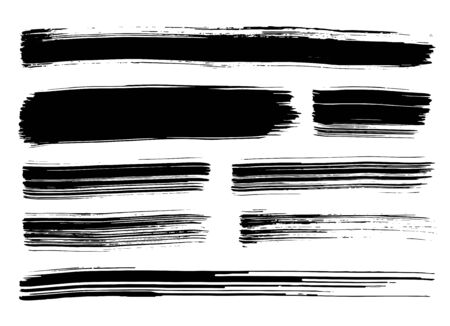 Collection of different black grunge brush strokes isolated over white background. Set of design elements. Vector illustration.