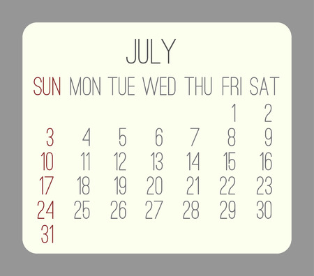 rounded rectangle: July 2016 vector monthly calendar. Week starting from Sunday. Beige rounded rectangle over gray background.