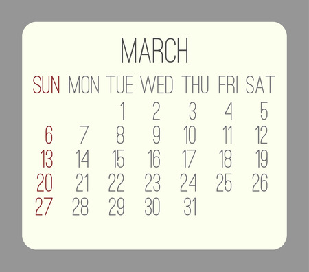 rounded rectangle: March 2016 vector monthly calendar. Week starting from Sunday. Beige rounded rectangle over gray background.