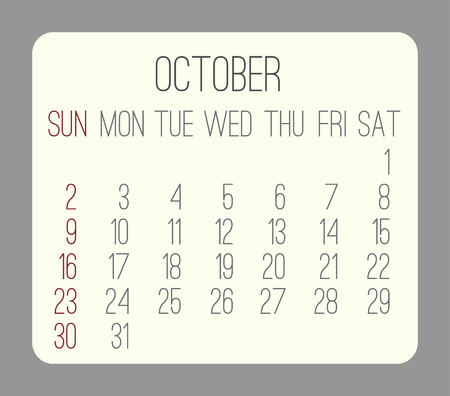 rounded rectangle: October 2016 vector monthly calendar. Week starting from Sunday. Beige rounded rectangle over gray background. Illustration
