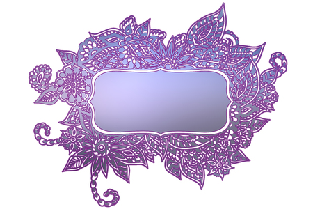 text room: Blue and purple ornate floral doodle frame isolated on white with room for your text.