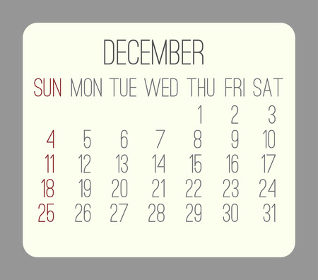 rounded rectangle: December 2016 vector monthly calendar. Week starting from Sunday. Beige rounded rectangle over gray background. Illustration