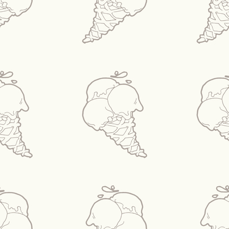 icecream: Seamless pattern with ice-cream cones in light beige-gray color.