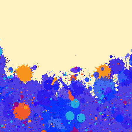 room for text: Vibrant bright blue and orange watercolor artistic splashes frame with room for text, square format.