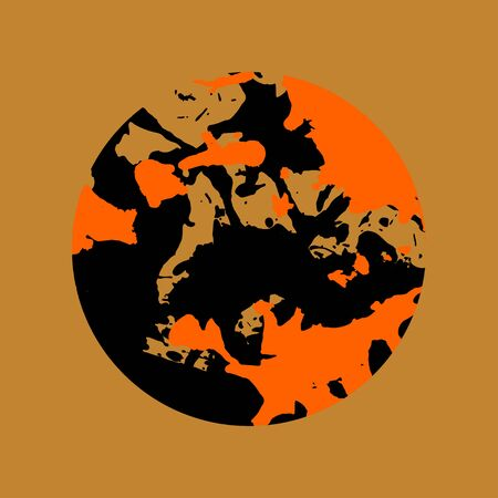 over black: Black and orange artistic paint splashes in a circle over brown background.