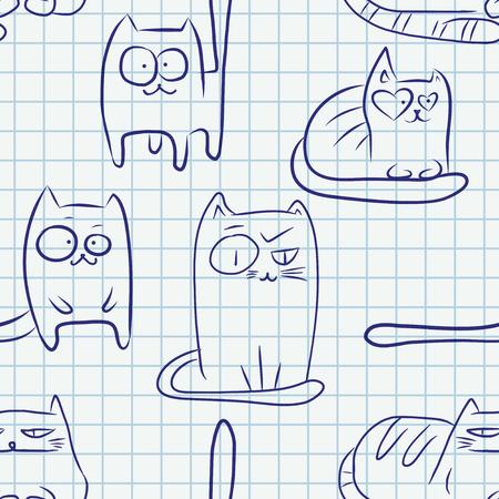 sin patrón, con bocetos dibujados a mano azul de los gatos divertidas sobre el papel de cuaderno cuadrado.