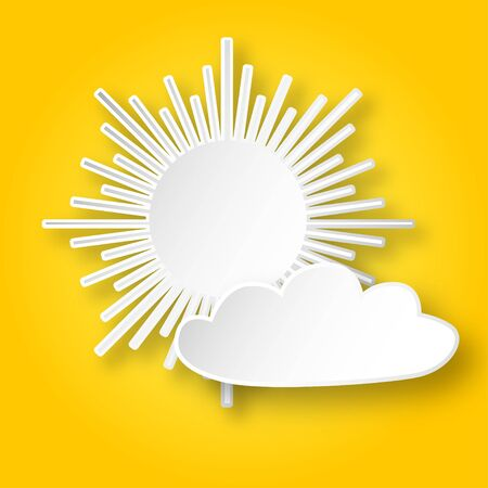 yellow sky: White paper shining sun and a cloud on the yellow sky. Vector sun icon. Illustration