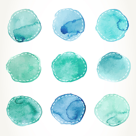 greenish blue: Hand drawn colorful greenish blue watercolor circles with dash outline, isolated over white.