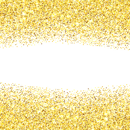 room for your text: Gold glitter texture borders over white background. Abstract golden sparkles of confetti. Vector illustration with room for your text.