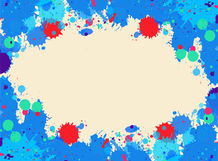 room for text: Bright blue and pink watercolor artistic splashes frame with room for text, horizontal format.