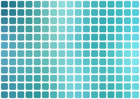 horizontal format: Vector abstract light blue mosaic background with rounded square tiles over white, horizontal format. Illustration