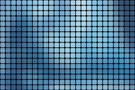 mosaic tiles: Abstract mosaic background with blue square tiles over black, horizontal format.