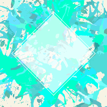 semitransparent: Template with semi-transparent white square over pastel colored blue and green artistic paint splashes.