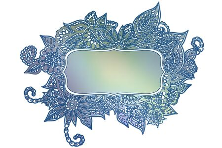room for your text: Blue ornate floral doodle frame isolated on white with room for your text. Illustration