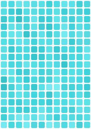 vertical format: Vector abstract light blue mosaic background with rounded square tiles over white, vertical format.