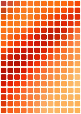 vertical format: Vector abstract orange mosaic background with rounded square tiles over white, vertical format.