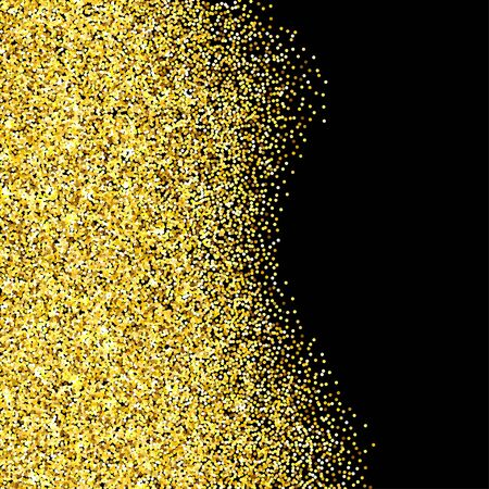 room for your text: Gold glitter texture border over black background. Abstract golden sparkles of confetti. Vector illustration with room for your text.