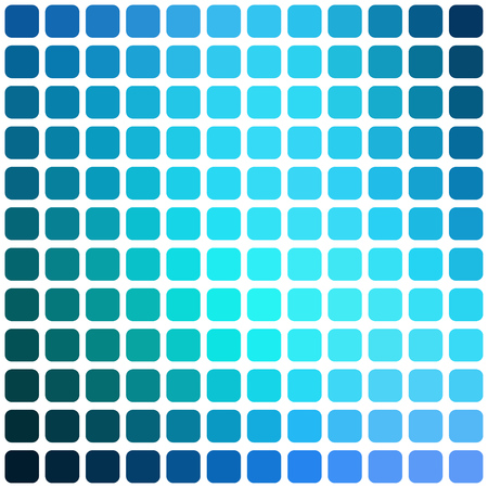 rounded: Vector abstract blue mosaic background with rounded square tiles over white, square format.