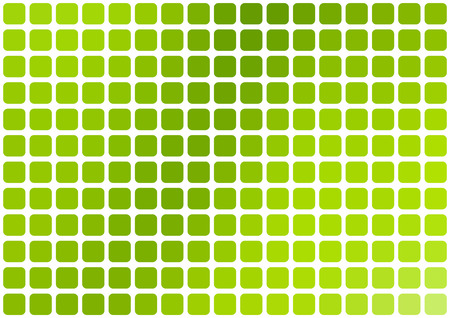horizontal format: Vector abstract green mosaic background with rounded square tiles over white, horizontal format.