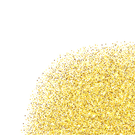 room for your text: Gold glitter texture corner border over white background. Abstract golden sparkles of confetti. Vector illustration with room for your text.